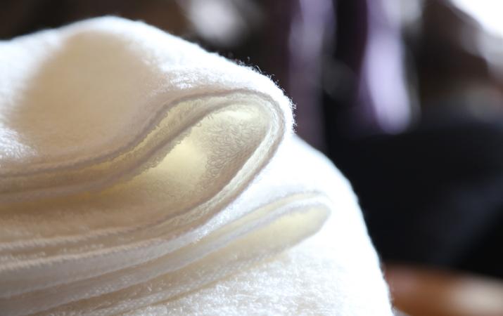 肌に柔らかいタオル