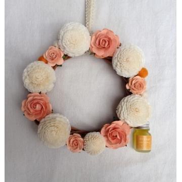 紙のお花のリース