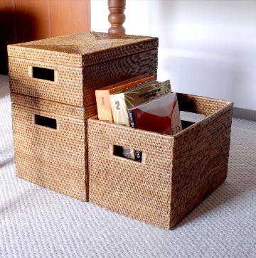 ラタンの箱型BOX